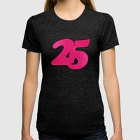 25 Womens Fitted Tee Tri-Black SMALL