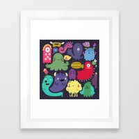 Colorful creatures Framed Art Print