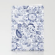 Folk Floral Indigo Stationery Cards