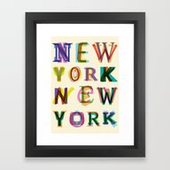 Framed Art Print featuring New York New York by Fimbis