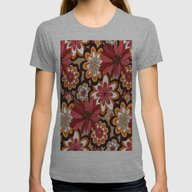 Flower Pattern Womens Fitted Tee Athletic Grey SMALL