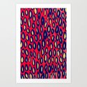 Mixed media and digital blue and pink pattern Art Print