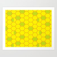 Bee Hive Naturally Patte… Art Print