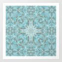 Soft Teal Blue & Grey hand drawn floral pattern Art Print