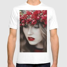 Red rose Mens Fitted Tee White SMALL