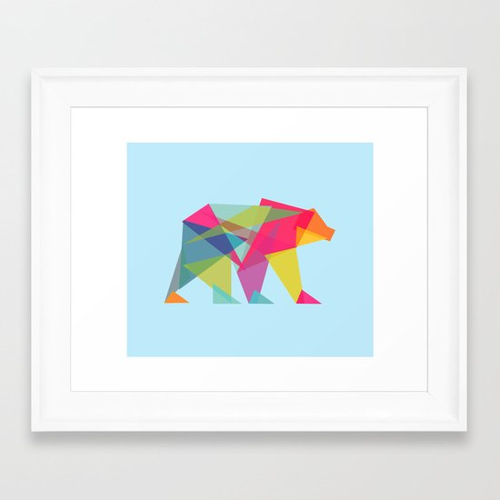 Fractal Bear - neon colorways Framed Art Print