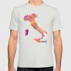 Italy map Mens Fitted Tee Silver SMALL