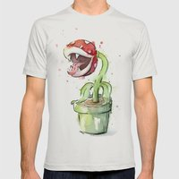 Piranha Plant Mens Fitted Tee Silver SMALL