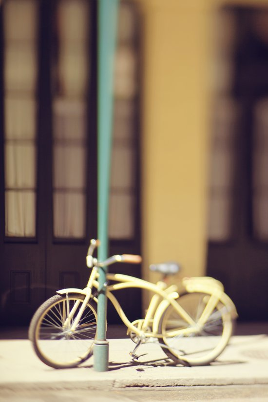 Yellow New Orleans Bicycle Art Print