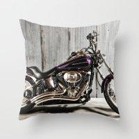 Purple Harley Softail Throw Pillow