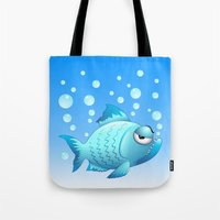 Grumpy Fish Cartoon Tote Bag