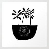 Three Stems Black and White Flowers Art Print