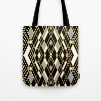 Art Deco Grey Gold Tote Bag