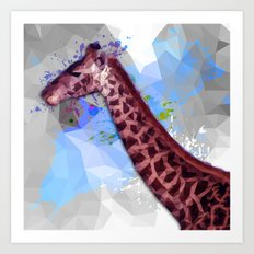 Low poly giraffe Art Print