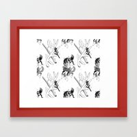 woman wolf pattern Framed Art Print