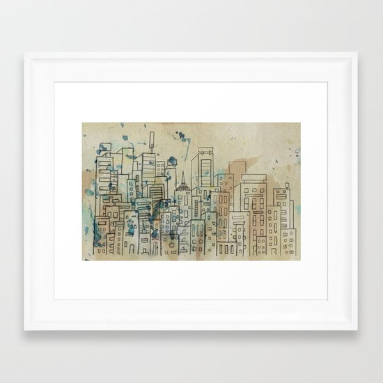 Sketch of buildings in a city that doesn't exist Framed Art Print