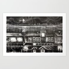 House of Elements - Black and white cityscape lithograph Art Print