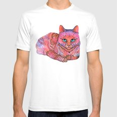 SUNSET CAT SMALL White Mens Fitted Tee