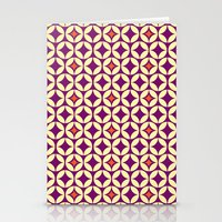 Repeated Retro - purple Stationery Cards