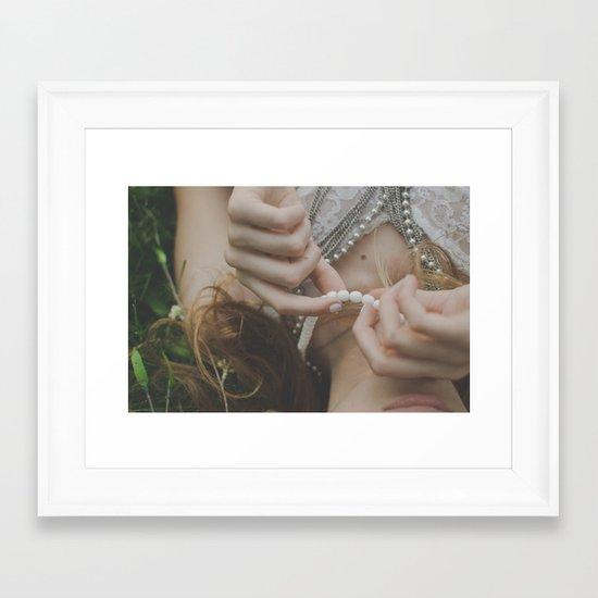 She wore pearls Framed Art Print
