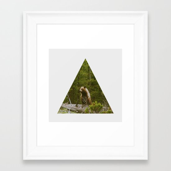 Log Bear Framed Art Print