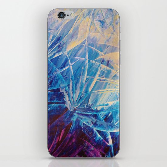 NIGHT FLOWERS - Beautiful Midnight Florals Feathers, Eggplant Lilac Periwinkle Cream Modern Abstract iPhone & iPod Skin