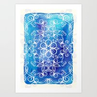 White Floral Painted Pattern on Blue Watercolor Art Print