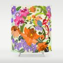 Damask Flowers, Leaves and Tropical Bird pillow Shower Curtain