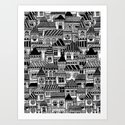 Black and White Busy Body Houses Art Print