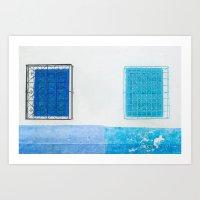 Two Blue Shuttered Windows Art Print