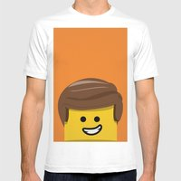 Brick Builder Mens Fitted Tee White SMALL