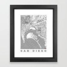 San Diego Map Line Framed Art Print