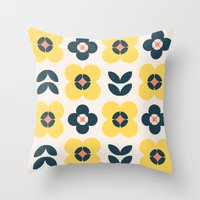 Vintage Geometric Flower… Throw Pillow