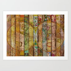 Around the World in Thirteen Maps Art Print