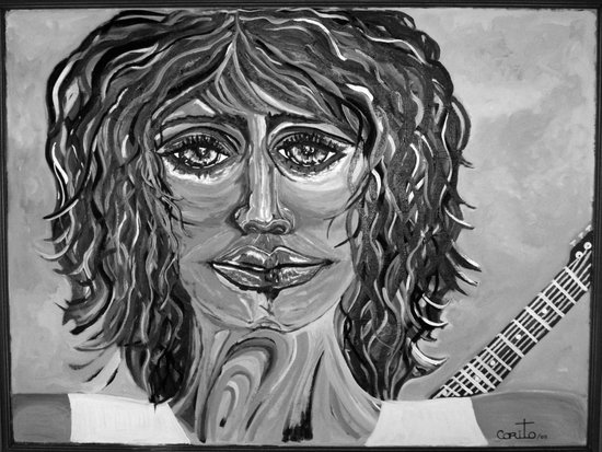 Guitar back me up BW Art Print