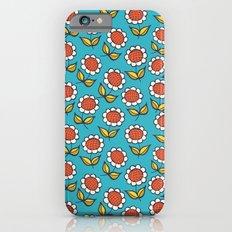 Floral mix sunflowers blue iPhone 6 Slim Case