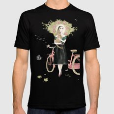 Girl and cat with pink bicycle Black Mens Fitted Tee SMALL