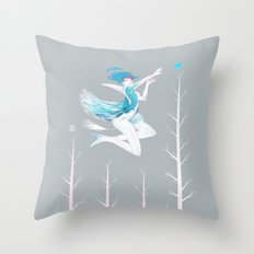 Little Blue Bird Throw Pillow
