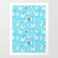 Alpaca Pattern Art Print