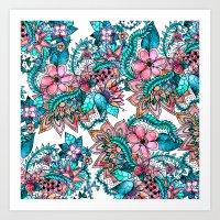 Boho Turquoise Pink Flor… Art Print