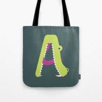 Letter A // Animal Alphabet // Alligator Tote Bag