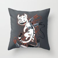 Cybercat Charges Up Throw Pillow