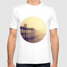 Huntington Beach Pier Mens Fitted Tee White SMALL