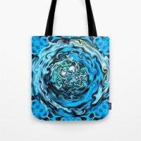 Aqua Swirl Topography Tote Bag