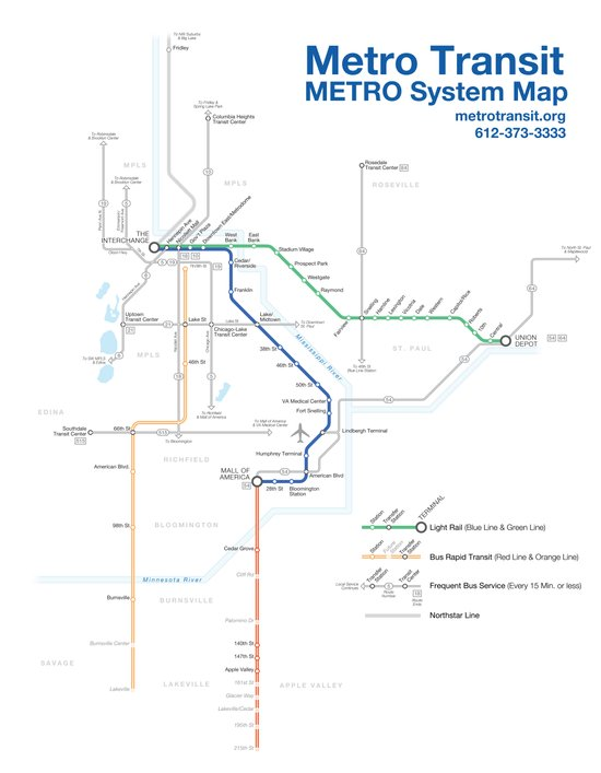 Twin Cities METRO System Map Canvas Print