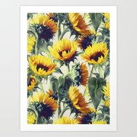 sun Art Prints featuring Sunflowers Forever by micklyn