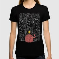 My Brain Won't Stop Womens Fitted Tee Black SMALL