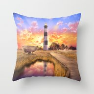 Lighthouse Landscape Sky Throw Pillow