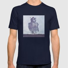 BEWARE THE GIANT ROBOTS! Mens Fitted Tee Navy SMALL