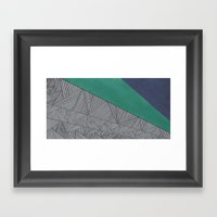Black, Turquois, Dark Blue Framed Art Print